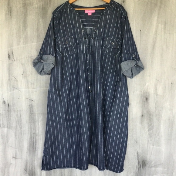 Woman Within Dresses & Skirts - Pinstripe Chambray Denim Lace Up Front Dress 22W